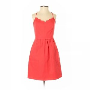 J. Crew Factory Store Coral Scallop Dress 0